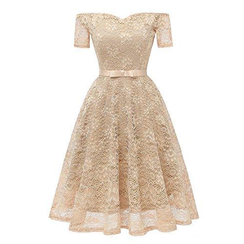 IZHH Damen Abendkleider Damen Vintage Kurzarm Off Shoulder Lace Schleier Prinzessin Floral Lace Hem...