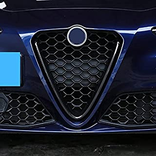 Carbon Fiber Style ABS Plastic Front Grill Decoration Frame Trim For Giulia 2017 2018 Parts