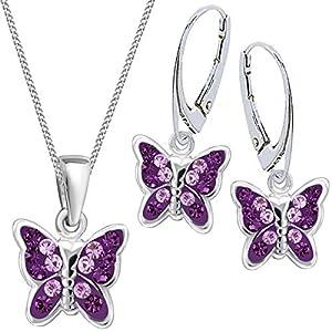 Mädchen Kinder Kristall Schmetterling Brisur Ohrringe + Anhänger + 40cm Kette 925 Silber Set
