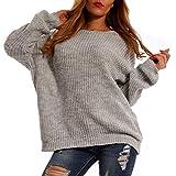 YC Fashion & Style Damen Basic Pullover Oversize Grobstrick Freizeit Casual Pulli Herbst Winter (One Size, Grau)