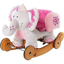 Labebe Cavallo a Dondolo e Passeggino di Legno per Bambino Giocattoli Cavalcabili con Carta Sana 6-36 Mesi (Elefante Rosa)