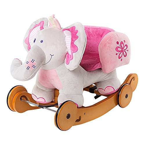 Labebe Baby Rocking Horse Wooden, 2 In 1 Plush Rocking Horse with Wheel, Elephant Baby Rocker Pink for Up 6 Months, Pink Rocker Toy/Pink Baby Rocker Elephant/Pink Wooden Rocking Horse/Girl Baby Rocker