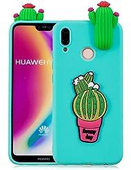 """Aeeque Azzurro Huawei P20 Lite Cover Della del Silicone TPU Ultra Sottile e Leggero Coperchio di Protezione con Verde Cactus Modello 3D Cartoon Design Colore Candy Custodia per Huawei P20 Lite 5.84"""""""