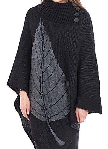 Missmister caldo maglione-poncho-scialle-mantello da donna invernale lavorato a maglia con 3bottoni, taglie forti dalla 40-58 BLACK (Charcoal Leaf)
