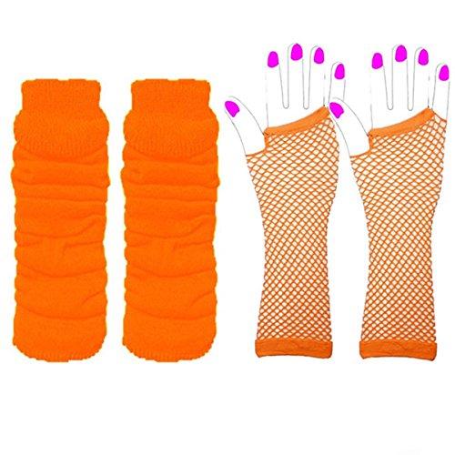 Adultes Court & Long Fingerless Gants résille et ensemble de réchauffeur de jambes Raves Parties 1980s Déguisements - Pick & Mix (Jambi�res et longs gants en r�sille - Orange)