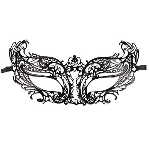 Venezianisch Maske für Damen luxuriös Prinzessin Stil, Metall Rhinestone Kaiserkrone Maskenspiel (Raven Maske)