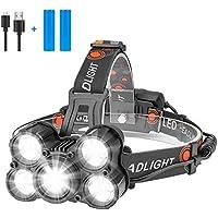 Eletorot Lampe Frontale, Lampe Phare LED Rechargeable Puissante Super lumineux, Etanche Lampe Torche LED, 4 Modes pour course camping randonnée Chasse pêche