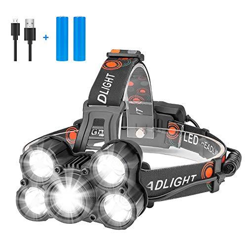 Eletorot LED Stirnlampe, Superheller LED Kopflampe, USB Wiederaufladbare 4 Helligkeiten zu wahlen, wasserdicht LED Stirnlampen für Camping, Running, Reading, Radfahren, Höhlen