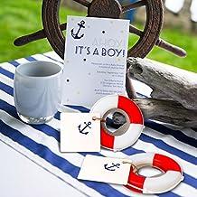 AerWo 10pcs Mini Life Buoy Apribottiglie Bomboniere con nave Carta da parati Tag e Spago per la spiaggia Decorazioni di nozze Tema nautico Baby Shower Favore di partito