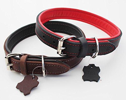 Hundehalsband Echt-Leder für mittelgroße und große Hunde 3 cm breit mit Nappaleder gepolstert 5-fach verstellbar M L XL braun-schwarz oder schwarz-rot robuste Premium Qualität MADE IN GERMANY (Breites Hundehalsband Schwarz)