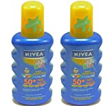 2x NIVEA Sun Sonnenspray Creme Kinder LSF 50+ Color 200ml