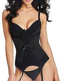 Mode Frauen Bustier Korsett Sexy Gürtel Taille Sexy Erotische Dessous-Webla Damen Strumpfhosen + Riemen + Strumpfbänder (keine Strümpfe) dreiteiliger Anzug (S, Schwarz)
