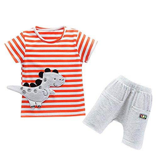 Conjuntos Bebe Niño Verano, Zolimx Reborn Bebes Recien Nacidos Dinosaurios de Dibujos Animados Camisetas Rayas + Pantalones Cortos Ropa Conjuntos (Naranja, 18 Meses)