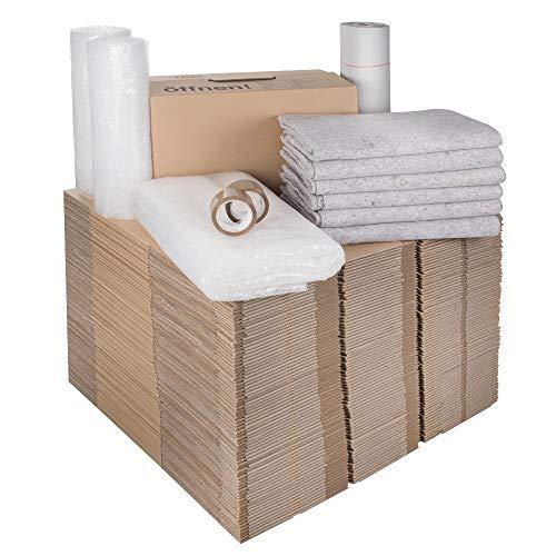 1 Umzugskomplettpaket (3 bis 4-Zimmer-Wohnung) mit 75 Umzugskartons Profi + Luftpolsterfolie + Seidenpapier + Klebeband