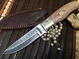 Coltello da caccia in acciaio Damasco con fodero