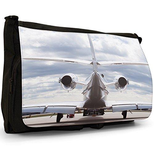 Velivoli con motivo aeroplani di Planes, colore: nero, Borsa Messenger-Borsa a tracolla in tela, borsa per Laptop, scuola Rear Of Plane On Cloudy Day