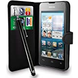 HUAWEI ASCEND Y300 BLACK LEATHER WALLET FLIP CASE COVER POUCH + FREE SCREEN PROTECTOR & TOUCH STYLUS PEN