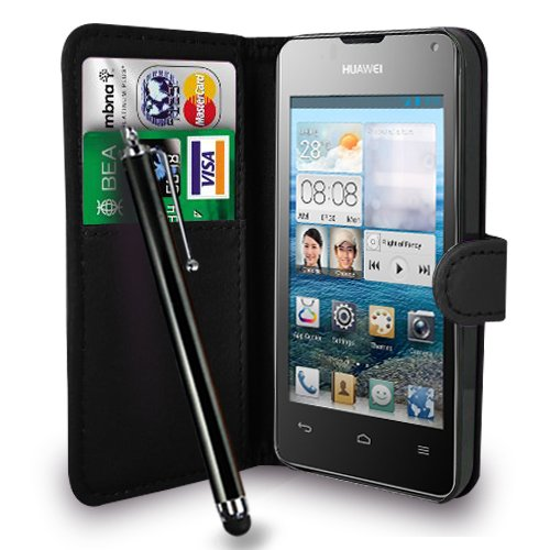 huawei-ascend-y300-black-leather-wallet-flip-case-cover-pouch-free-screen-protector-touch-stylus-pen