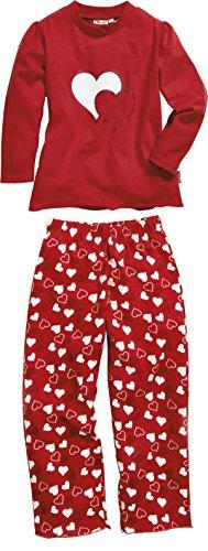 Playshoes Mädchen Single-Jersey Herzen Zweiteiliger Schlafanzug, Rot (original 900), (Herstellergröße: 110)