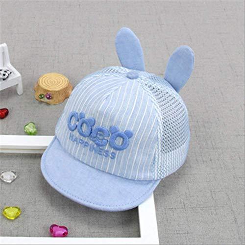 qqyz Koreanische Ausgabe Sommer Baby Hat Sonnencreme Schattierung Baby Jungen Baseball Hut Net Hat Atmungsaktive Flip Aufweichen Entlang Der Kappe 45-49cm (0-3 Jahre alt) Coco-Light Blue