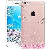 EMAXELERS iPhone 8 Plus Cristal Transparente Clear Fleur Cherry Blossom Soft Coque...