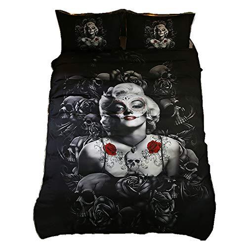 Home4Joys Rose Totenkopf Sexy Marilyn Monroe Bettwäsche Sets Kissen Fall Bettbezug Bettwäsche Tröster Set Baumwolle Größe Queen/Full Schwarz
