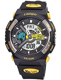 Exhibición doble / reloj electrónico de múltiples funciones / reloj militar luminoso / reloj de los deportes / tabla de salto impermeable / relojes de los hombres , black yellow n1