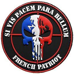 topt mili ecusson Insigne Sniper tireur d Elite Fusil Drapeau France Airsoft Paintball en PVC 3D Vinyl Relief Army armée 8cm