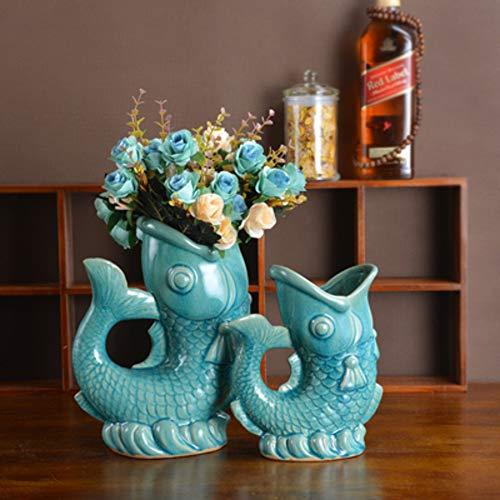 Moderne Keramik Vase Fisch Form Ornamente Handwerk Wohnzimmer Blumenschmuck Getrocknete Gefälschte Blumentopf Von Einrichtungsdekoration -