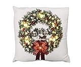 zeitzone LED Kissen Weihnachten Winterstadt Schlitten Schnee Mit Beleuchtung 40x40cm