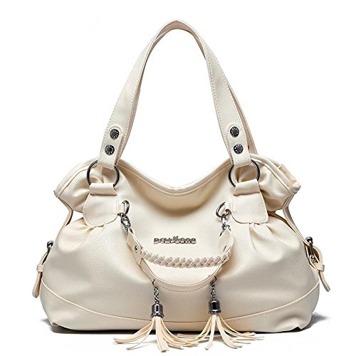 HQYSS Damen-handtaschen PU Leder Temperament Stereotypen Frauen Casual Schulter Handtasche mit Fransen meters white