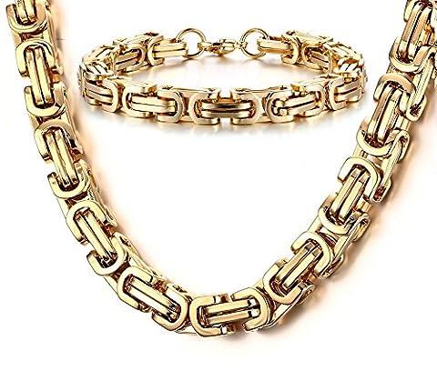 Vnox Männer Edelstahl Byzantinische Kette Männliche Halskette Armband Sets Cool Punk Gothic Schmuck Gold