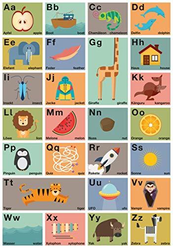 Großes ABC-Poster 70 x 100 cm | Wörter auf Deutsch & Englisch | Alphabet-Plakat B1 | Buchstaben Lernposter | Kinderzimmer Wand-Dekoration | Graphic Design Poster | Lernmittel für Kindergarten & Schule -