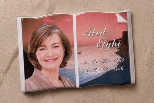 Porzellanbild Buch Grabbuch Grabbild Porzellanfoto Buchformat Bibel Grabstein Porzellanbuch inklusive Beschriftung