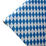 JUNOPAX 50m x 1,00m Papiertischdecke Raute weiß-blau | nass- und wischfest