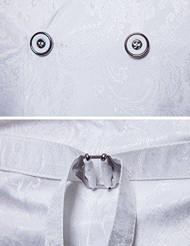 STTLZMC Elegante Herren Weste Formal Paisley Slim Fit Retro Stil blazer Weiß