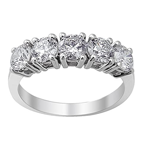 5 stone diamant anniversaire bandes 1 1/2 ct tw 9 coupe ronde or blanc ac