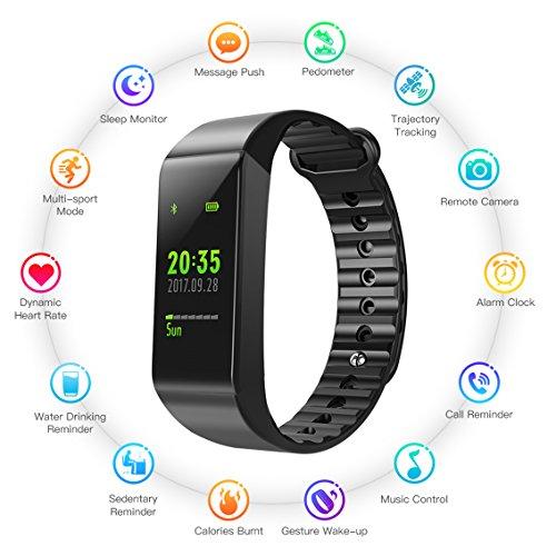 Fitness Tracker Pulsera Actividad Pulsera de reloj deportivo Rastreador de fitness impermeable IP67 con monitor de ritmo cardíaco de muñeca para hombres Mujeres Niños Monitoreo de podómetro modo deportivo y calorías Notificaciones de monitoreo de sueño Llamadas y SMS para iPhone Smartphone con iOS de Sumsang para Android (Negro 1)