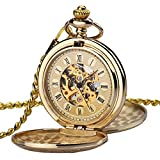 Pocket Watch Men Full Double Hunter Mechanical Pocket Watches Engraved Roman Numerals Gold Hand Wind Pocketwatch for Women with Golden Chain W347
