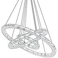 SAILUN® 72W LED Lampada a Sospensione Design di Cristallo a Tre Anelli (Φ: 20cm + 40cm + 60cm) Lampada a Sospensione Lampadario Creativo Bianco Freddo Lustres (72W Bianco Freddo)