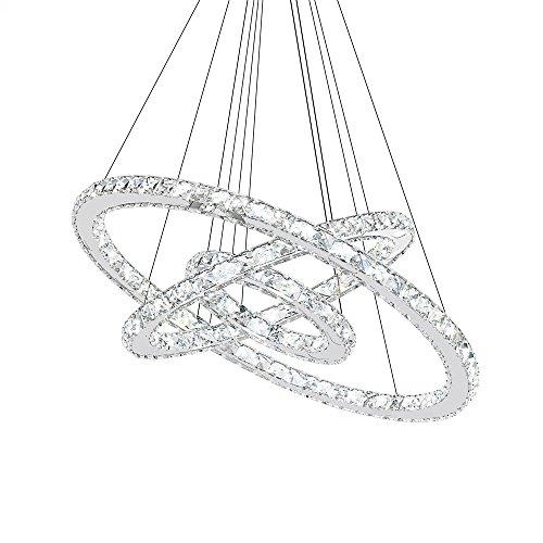 SAILUN 72W LED Lampada a Sospensione Design di Cristallo a Tre Anelli (Φ: 20cm + 40cm + 60cm) Lampada a Sospensione Lampadario Creativo Bianco Freddo Lustres (72W Bianco Freddo)