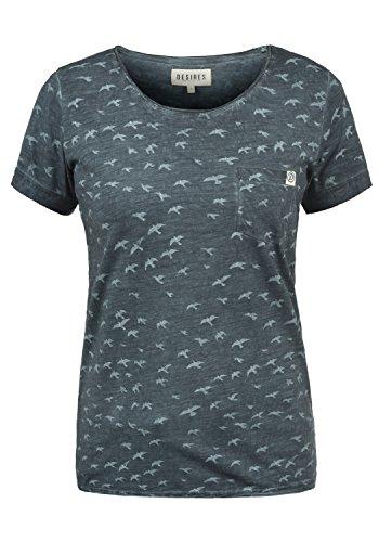DESIRES Bird Damen T-Shirt Kurzarm Shirt mit Print Rundhalsausschnitt und Brusttasche Aus 100% Baumwolle, Größe:XL, Farbe:Insignia Blue (1991) - Yoga-baumwoll-t-shirt