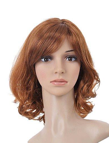 BBDM capless longueur moyenne de haute qualité de synthèse or perruque brune cheveux bouclés 0463-472