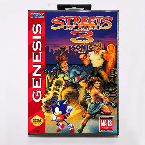 The Crowd Tradensen Streets of Rage 3 Sonic Version NTSC-USA 16 Bit Md Spielkarte mit Retail-Box Genesis