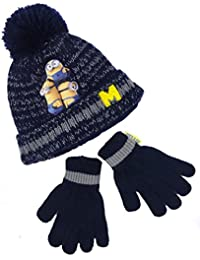 Boys Minions Despicable Me Hat and Mitts Set Lovely Chunky Set 3-6y and 7-10y