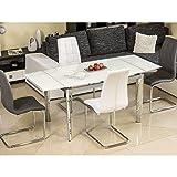 JUSThome GD-020 Mesa de comedor extensible Cromado Blanco Tamaño 76 x 80 x 120-180 cm
