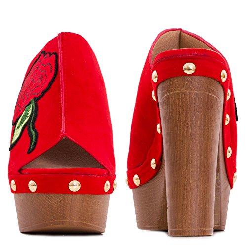 Toocool - Scarpe donna zoccoli clogs sabot scamosciati tacco comodo borchie nuovo F35-19 Rosso