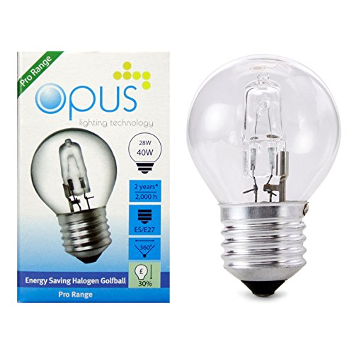 10 x Opus 28w = 40w Golf Ball ES E27 Screw Cap Long Life Clear Eco Halogen Light Bulbs Dimmable Energy Saving Lamps Pack