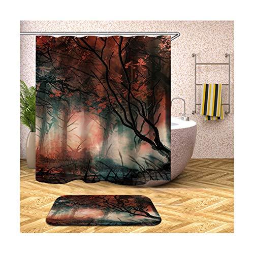 Daesar Wald 40x60 Fußmatten Badezimme Waschbar Duschvorhang Vintage 120x180 cm, Badematten 2Teilig Set