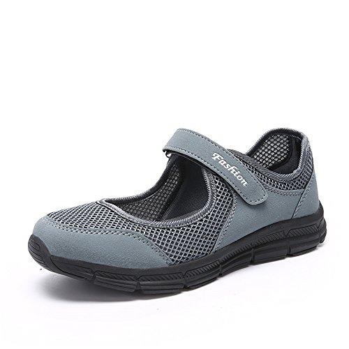 Damen Outdoor Fitnessschuhe Atmungsaktive Mesh Schuhe Sport Slipper mit Klettverschluss, Gray, 35 EU